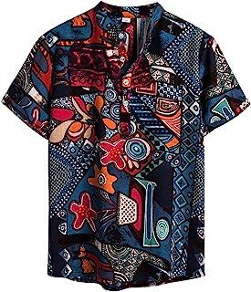 NEWISTAR Hombres de lino Henley Camisas de manga corta cuello de banda hawaiano camisa de verano casual vintage étnico Top...
