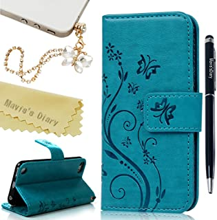 iPod Touch 6 Case,Touch 5 Wallet Case, Mavis's Diary Fashion Embossed Floral Butterfly PU Leather Flip Stand Cover & Wrist Strap Card Holders for iPod Touch 5th/6th Generation & Dust Plug & Pen - Blue