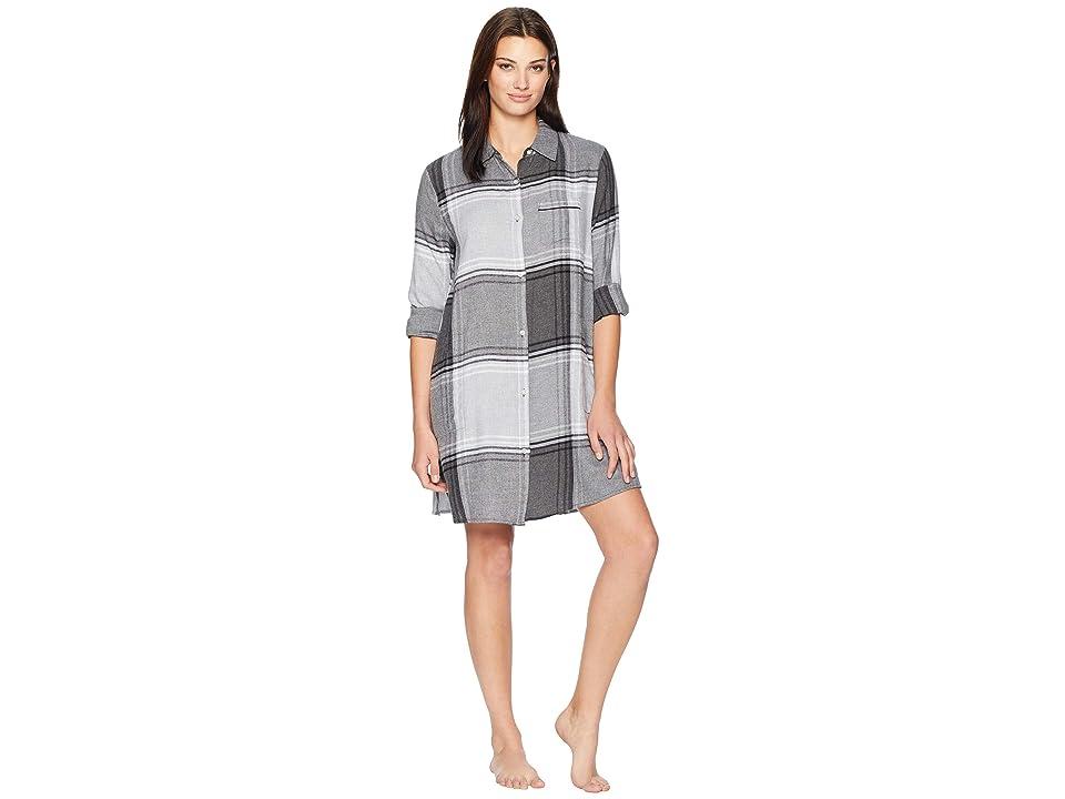 Donna Karan Flannel Nightshirt (Charcoal Heather Plaid) Women