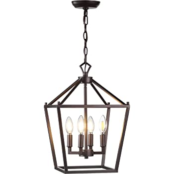 "JONATHAN Y JYL7436A Pagoda 12"" 4-Bulb Lantern Metal LED Pendant, Classic, Traditional for Kitchen, Living Room, Oil Rubbed Bronze"