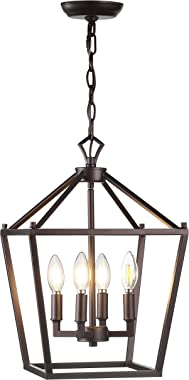 """JONATHAN Y JYL7436A Pagoda 12"""" 4-Bulb Lantern Metal LED Pendant, Classic, Traditional for Kitchen, Living Room, Oil Rubbed Bronze"""
