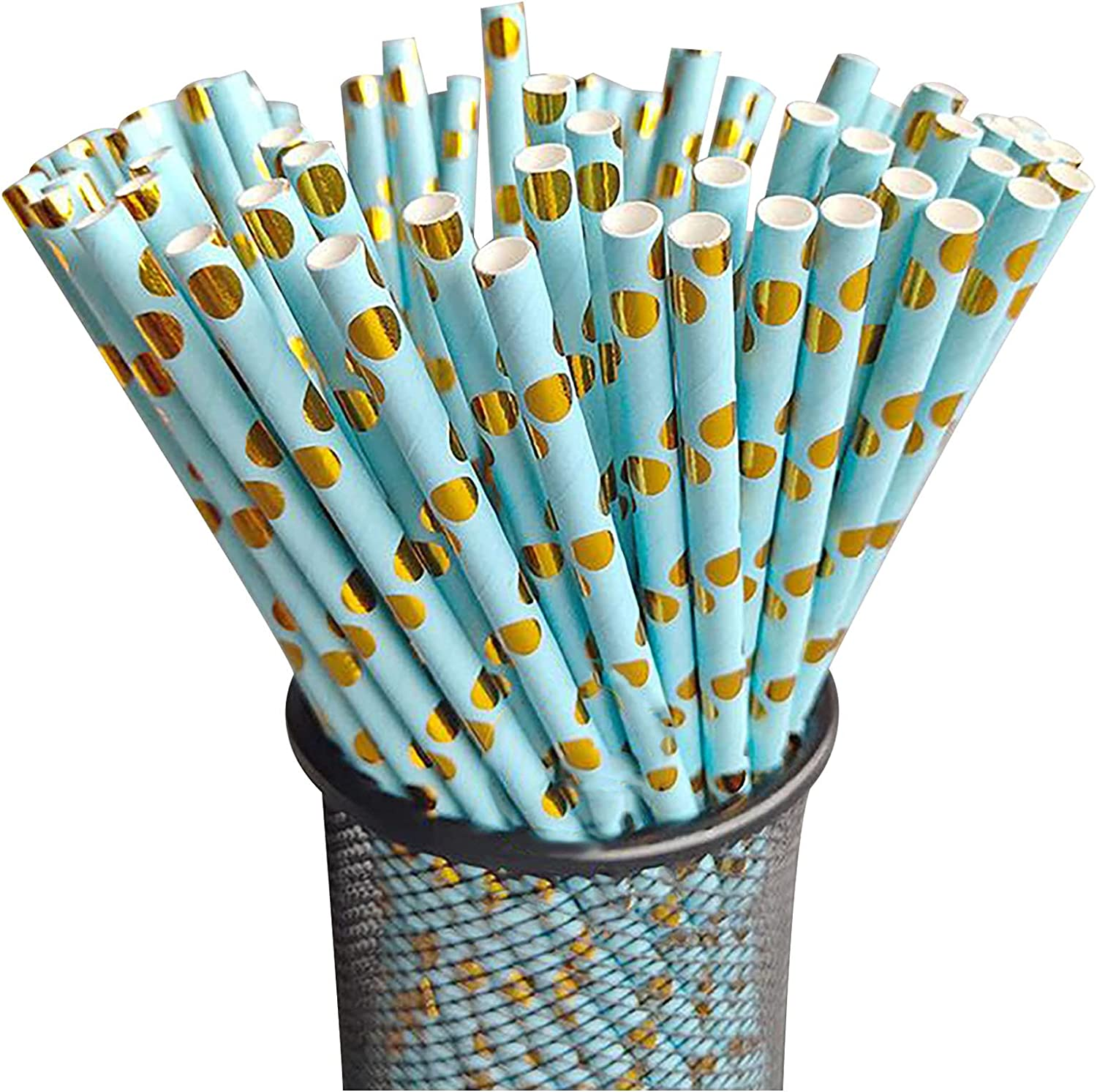[100 Pack] Paper Straws Gold Coated, Biodegradable Paper Drinking Straw for Both Hot and Cold Beverages, 7.67