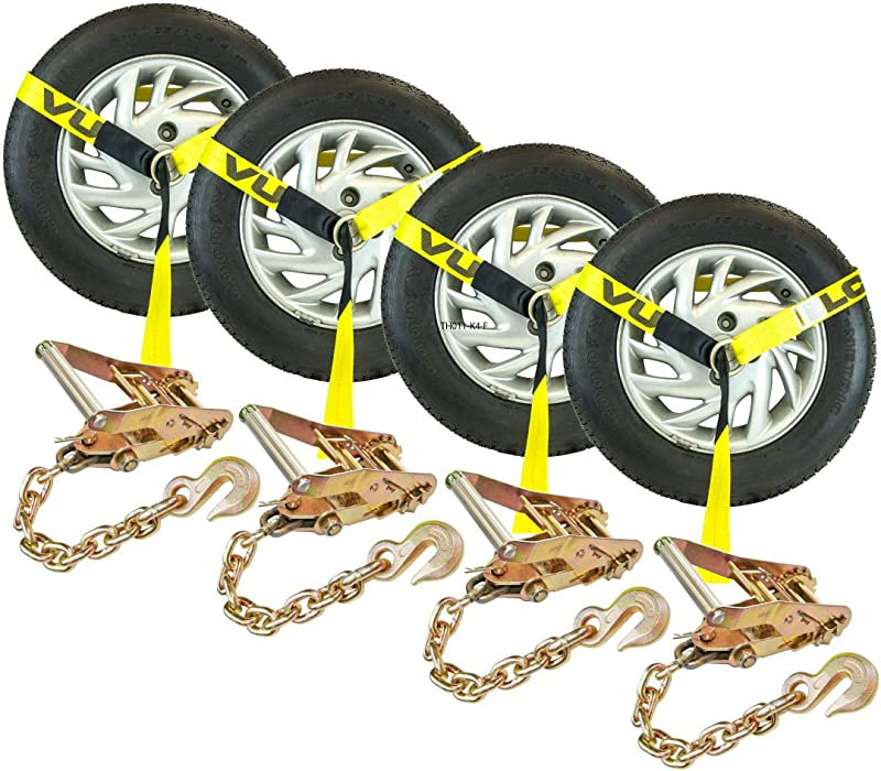 Vulcan 96 Lasso Style Auto Tie Down W Chain Anchors 3300 Lbs SWL 4 Pack