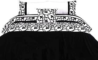 Luxton 4pc Flocking Quilt Cover Set, Super Soft Black Scroll Duvet Cover Comforter Cover Set (White, Queen Size Set)