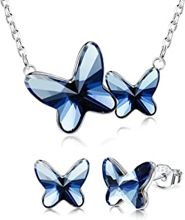 Sllaiss S925 Sterling Silver Butterfly Jewelry Set Embellished with Swarovski Crystals Blue Butterfly Necklaces and Studs ...
