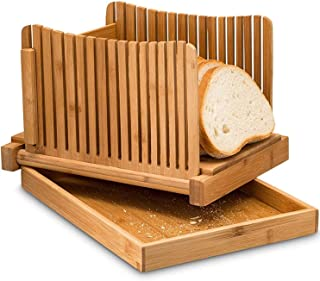 St. Lun Bamboo Bread Slicer with Cutting Board Foldable Adjustable Bread Slicer For Homemade Bread Loaf Cakes Bamboo Bread...