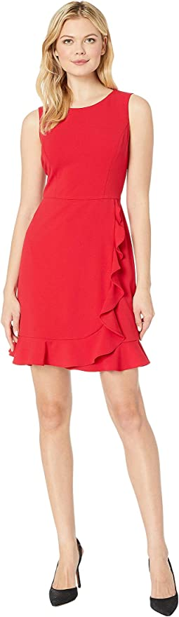 Sleeveless Jewel Neck Crepe Dress w/ Asymmetrical Skirt Ruffle