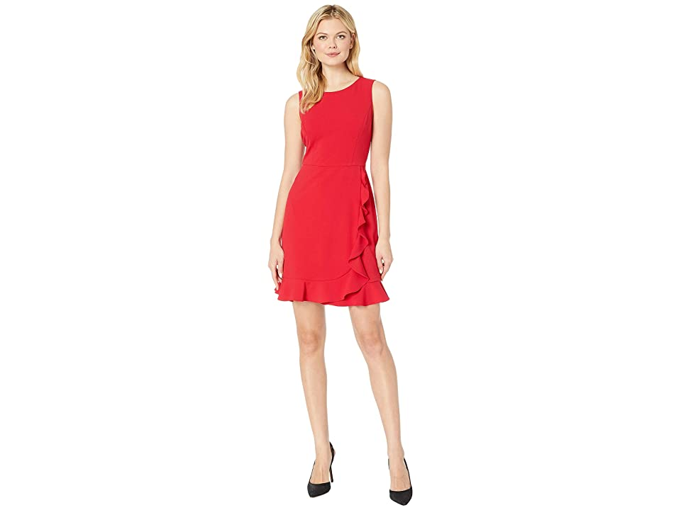 Nine West Sleeveless Jewel Neck Crepe Dress w/ Asymmetrical Skirt Ruffle (Crimson) Women