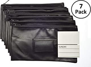 7 Days Bank Deposit Cash and Coin Pouches with Zipper Closure, Each Money Bag with Blank Card and Card for Each Day of The Week, Black
