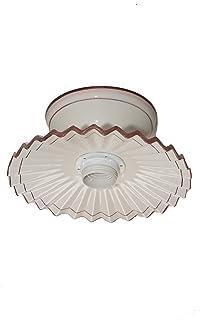VANNI LAMPADARI - Lampada Da Soffitto Piatto Plissè Diametro 20 In Ceramica Decorata A Mano Disponibile In 5 Finiture