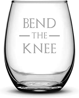 Integrity Bottles Premium Game of Thrones Wine Glass, Bend the Knee, Hand Etched 14.2 oz Stemless Gifts, Made in USA, Sand Carved