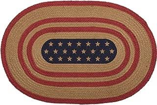 VHC Brands Seasonal Americana Flooring-Liberty Stars Red Flag Oval Jute Rug, 1'8