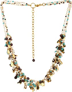 DCA Crystal Base Metal Necklace for Women (Multicolored)