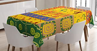 Ambesonne African Tablecloth, Animal Art in Detailed Themed Backdrop Design, Rectangular Table Cover for Dining Room Kitchen Decor, 60