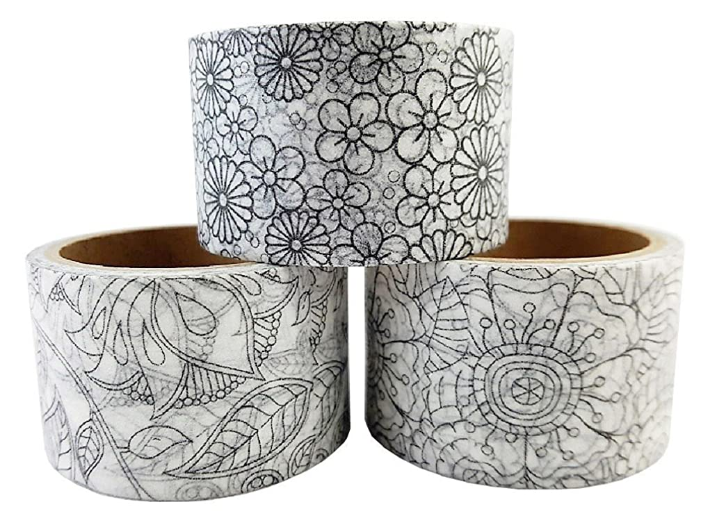 Coloring Washi Masking Tape Set Best for DIY Decorative Bullet Journal Scrapbooking Supplies Grafts Art Therapy Relaxing
