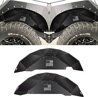 Sunluway Rear Inner Fender Liners for Jeep Wrangler 2007-2018 JK JKU 4WD US Flag Logo Aluminum Lightweight Design Black Splash Guards