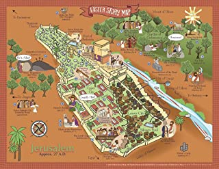 """Easter Story Map Poster- Map of Jerusalem- Events of Jesus' Last Week – 17"""" X 22"""" – Christian History & Art for Home Church Or Sunday Bible School – Faith Artwork Teaching Gods Word"""