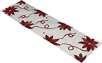 "Violet Linen Decorative Christmas Embroidered Poinsettias Design Table Runner, 14"" x 54"", Ivory"