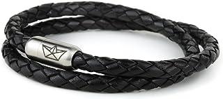 Paper-Ship Armband Neapel IV - Doppelt-gewickelt, Schwarzes geflochtenes Lederarmband 5mm mit Magnetverschluss in Silber