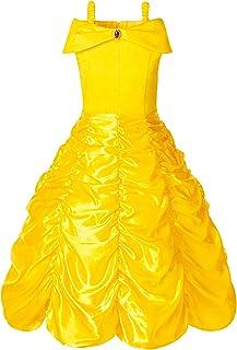 FUNNA Princess Belle Costume Dress for Girls Toddler Dress Up Yellow