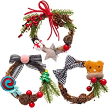 3pcs Christmas Garlands Mini Hanging Wreaths Door Ornaments (Random Style) for Christmas Party
