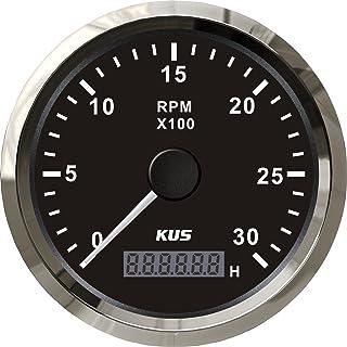 KUS Wasserdichte Drehzahlmesser Drehzahlmesser Mit Betriebsstundenzähler 3000 RPM 85mm 12 V / 24 V Mit Hintergrundbeleuchtung (Schwarz)