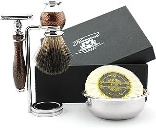 Syntetyczne włosie zestaw pędzli do golenia – 5-częściowy kompletny zestaw do golenia dla mężczyzn w stylu vintage zawiera...