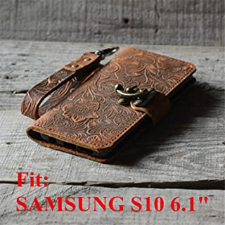 Handmade Genuine Leather Retro Book Style for Samsung Galaxy s10 6.1 inches Leather Wallet Case