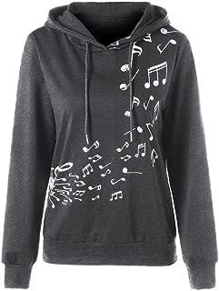 UOFOCO Womens Musical Note Print Sweatshirt Jumper Long Sleeve Hoodie Pullover Blouse