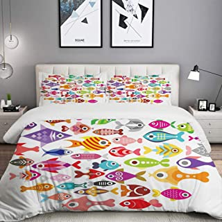 LUNASVT 3PC Bedding Set Rounded Different Size Type Fish Motifs Underwater World Fauna Gills Design 1 Duvet Cover with 2 Matching Pillowcases Home Bedroom Decor King