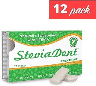 Stevita Stevia Dent Sugar-Free Gum - Natural Spearmint Flavor (12 Pack) - 12 pieces - Supports Oral Health - USDA Organic, Non GMO, Vegan, Keto, Gluten Free - 144 Servings