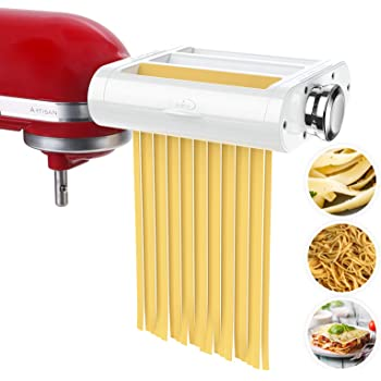 ANTREE Pasta Maker Attachment 3 in 1 Set for KitchenAid Stand Mixers Included Pasta Sheet Roller, Spaghetti Cutter, Fettuccine Cutter Maker Accessories and Cleaning Brush