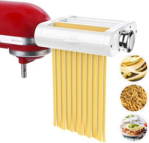 ANTREE Pasta Maker Attachment 3 in 1 Set for KitchenAid Stand Mixers Included Pasta Sheet Roller, Spaghetti Cutter, F...