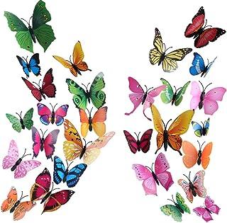 Vinilos Mariposas HO2NLE 72 Piezas 3D Pegatinas Mariposas Magnético Adhesivo Mariposas Decoracion 8 Colores Brillantes para Decorar Paredes del Hogar Balcón Niños Sala de Vestuario Diy