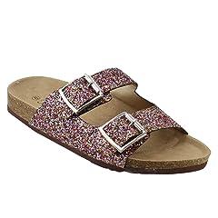 d68da7103e0f Forever Women s Sparkle Glitter Slip On Casual Sandals
