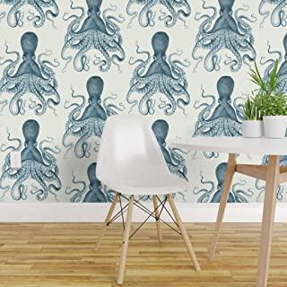 Spoonflower Peel and Stick Removable Wallpaper, Blue Octopus Nautical Sea Creatures Vintage Beach Summer Animal Print, Self-Adhesive Wallpaper 12in x 24in Test Swatch