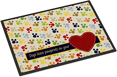 """Caroline's Treasures Dogs Leave Pawprints on Your Heart Indoor or Outdoor Mat, Multicolor, 24"""" x 36"""""""