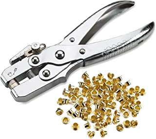 Katzco Eyelet Grommet Pliers Setting, Steel Hole Punch Eyelet Setter Kit - for Leather, Canvas, all Fabrics Men and Women Clothes, Shoes, Belts, Bags, Crafts - 100 Extra Gold eyelets and grommets