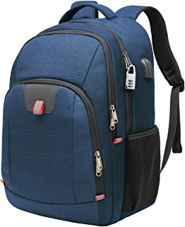Della Gao Laptop Backpack, Extra Large Computer Rucksack with USB Charging Port and Headphone Hole,Water Resistant Big Business Backpack for Mens and Women Bag Fit 17 Inch Laptops Notebook,Blue