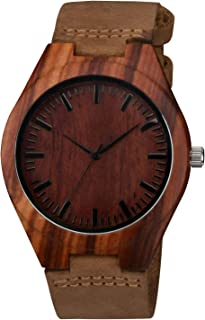 Wooden Bamboo Watch with Crazy Horse Leather Strap Quartz Analog Casual Vintage Wood Watches