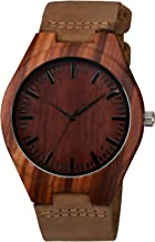 Zeiger Wooden Bamboo Watch with Crazy Horse Leather Strap Quartz Analog Casual Vintage Wood Watches
