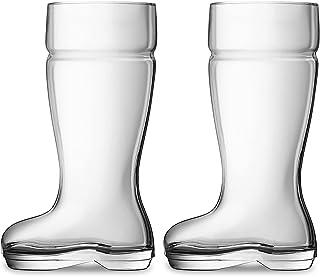 Chefcaptain Boot Mug Set of 2 Huge 1 Liter Glass Beer Mugs Drinking Glasses, Clear, 1 Liter