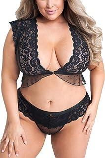 Black Lace Lingerie Set with harness twist bra and harness twist panties \u21fc BDSM style set with binding bra and binding panties \u21fc cage bra