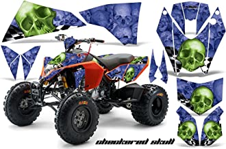 AMR Racing ATV Graphic Kit Sticker Decals Compatible with KTM 450 525 2008-2010 - Checkered Skull Green Blue