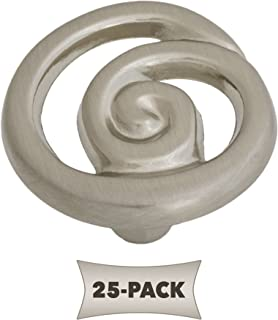 25 Pack Ornate Single Swirl Kitchen Cabinet Hardware Knob 1 1/4 Inch, Satin Nickel