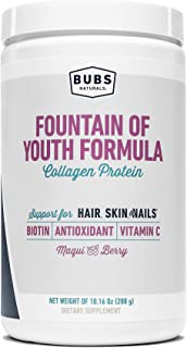 BUBS Naturals Fountain of Youth Women's Collagen Protein Powder Formula, Keto Friendly, Skin, Hair & Nail Support, Paleo F...