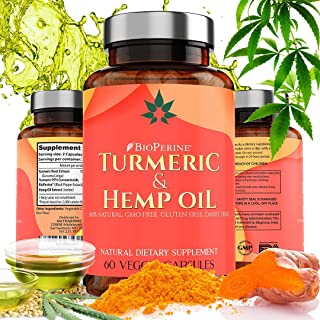 Hemp Oil Capsules for Pain Relief | Natural Hemp Oil Extract 1500mg with Turmeric – Reduces Aches, Inflammation, Stress & Anxiety - Improves Joint Mobility & Brain Health - Made in USA | 60 Capsules
