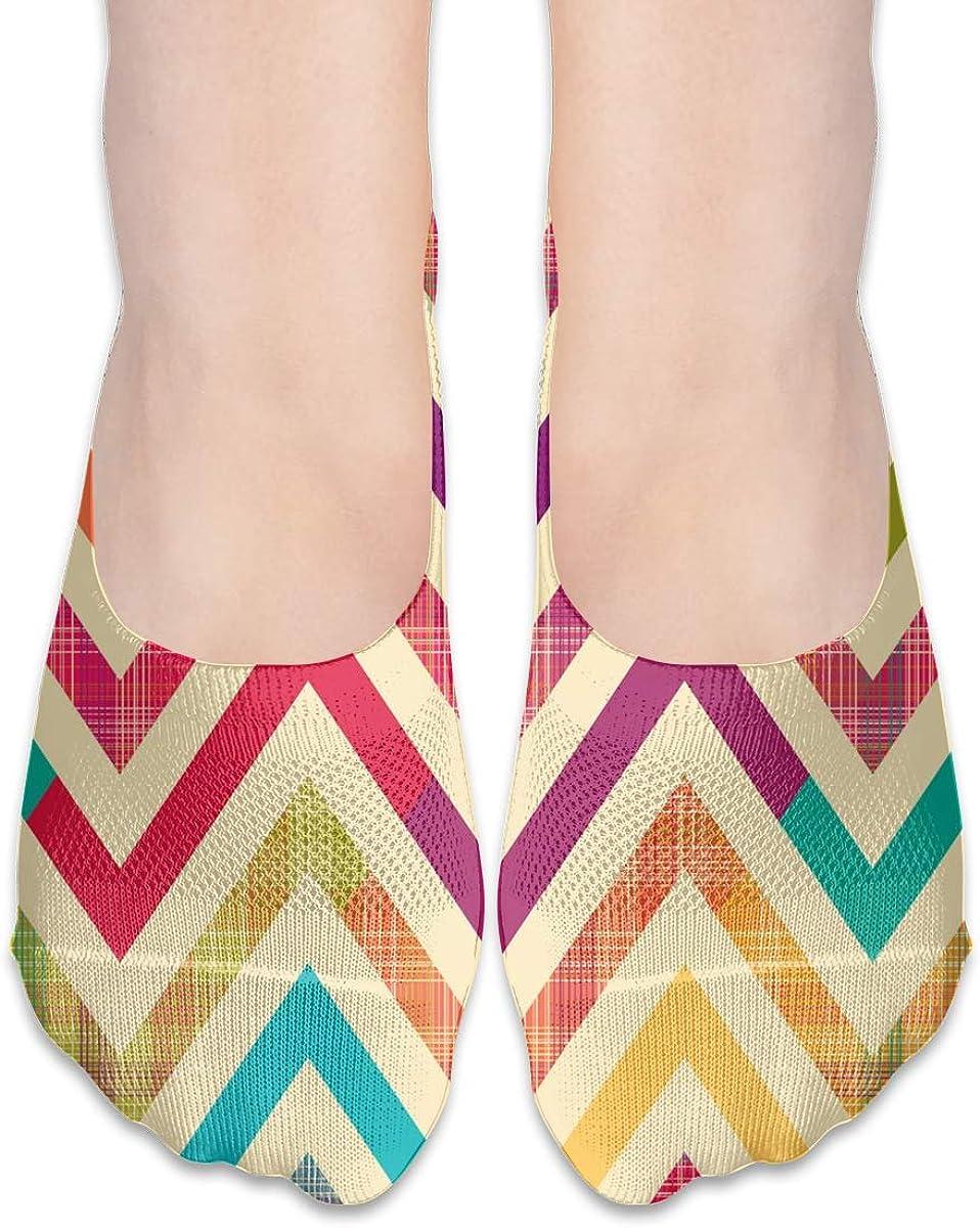 No Show Socks Women Men For Rainbow Bright Chevron Pattern Flats Cotton Ultra Low Cut Liner Socks Non Slip