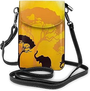 Women Small Cell Phone Purse Crossbody,African Wildlife Animals Elephants Sun Beams Trees Print Art