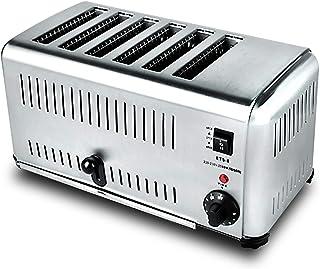Grille-pain commercial Machine de chauffage de pain grille-pain en acier inoxydable à 6 tranches avec 5 modes de cuisson e...
